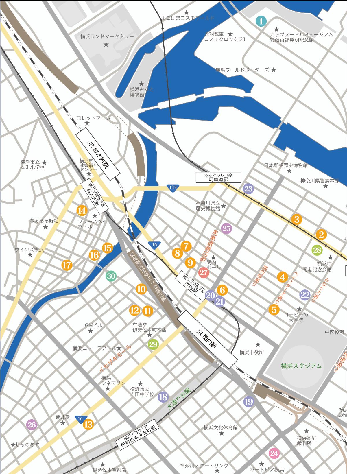 関内〜桜木町エリア地図